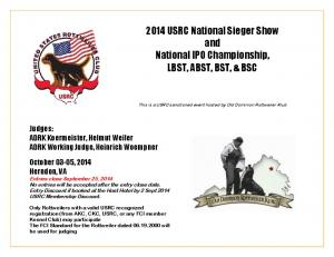 2014 USRC National Sieger Show and National IPO Championship, LBST, ABST, BST, & BSC