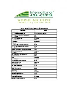 2014 World Ag Expo Exhibitor List