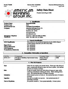 2015 American Refining Group, Inc Revision #:0 Page 1 of Identification ARG: (24 HRS)