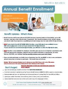 2015. Annual Benefit Enrollment
