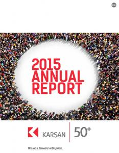 2015 ANNUAL REPORT. We look forward with pride