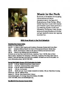 2015 Area Music in the Park Schedule