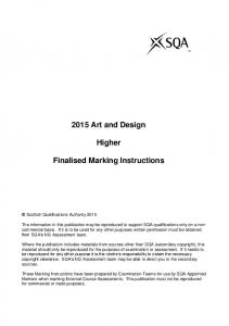 2015 Art and Design. Higher. Finalised Marking Instructions