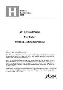 2015 Art and Design. New Higher. Finalised Marking Instructions
