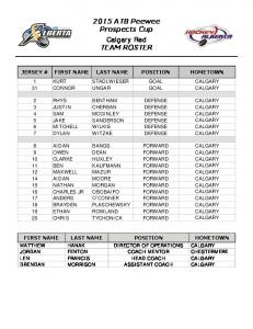 2015 ATB Peewee Prospects Cup Calgary Red TEAM ROSTER