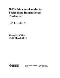 2015 China Semiconductor Technology International Conference