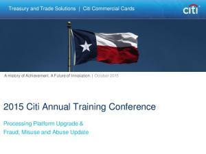 2015 Citi Annual Training Conference