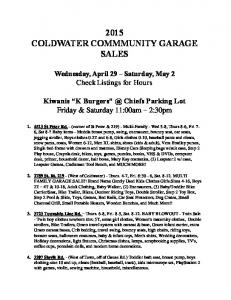 2015 COLDWATER COMMMUNITY GARAGE SALES
