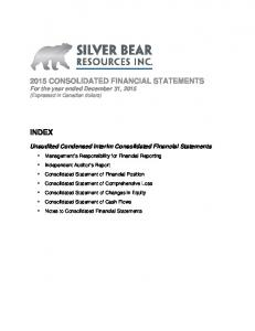 2015 CONSOLIDATED FINANCIAL STATEMENTS For the year ended December 31, 2015 (Expressed in Canadian dollars)