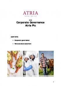 2015 Corporate Governance Atria Plc CONTENTS. Corporate governance. Remuneration statement