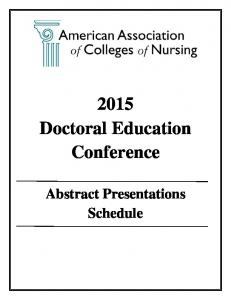 2015 Doctoral Education Conference. Abstract Presentations Schedule
