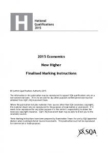 2015 Economics. New Higher. Finalised Marking Instructions