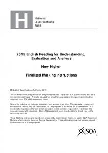 2015 English Reading for Understanding, Evaluation and Analysis. New Higher. Finalised Marking Instructions