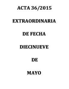2015 EXTRAORDINARIA DE FECHA DIECINUEVE MAYO