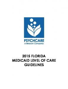 2015 FLORIDA MEDICAID LEVEL OF CARE GUIDELINES