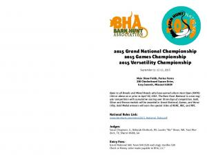 2015 Grand National Championship 2015 Games Championship 2015 Versatility Championship