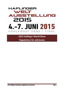 2015 Haflinger World Show Regulations for admission