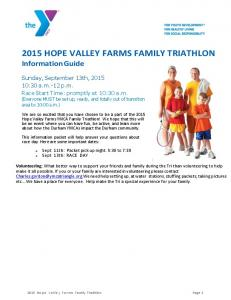 2015 HOPE VALLEY FARMS FAMILY TRIATHLON Information Guide