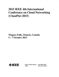 2015 IEEE 4th International Conference on Cloud Networking (CloudNet 2015)