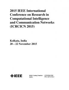 2015 IEEE International Conference on Research in Computational Intelligence and Communication Networks (ICRCICN 2015)