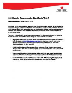 2015 Interim Resources for HeartCode PALS