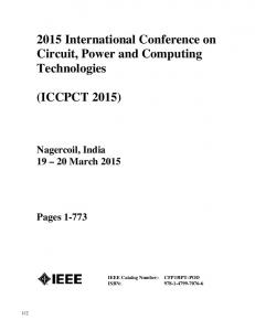 2015 International Conference on Circuit, Power and Computing Technologies