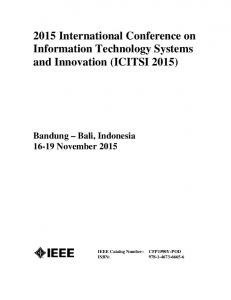 2015 International Conference on Information Technology Systems and Innovation (ICITSI 2015)