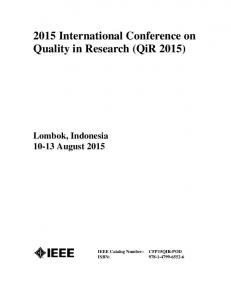 2015 International Conference on Quality in Research (QiR 2015)