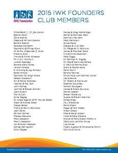 2015 IWK FOUNDERS CLUB MEMBERS