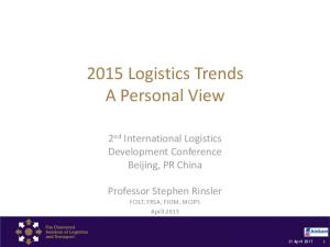 2015 Logistics Trends A Personal View