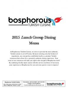 2015 Lunch Group Dining Menu