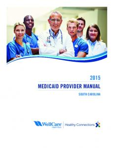 2015 MEDICAID PROVIDER MANUAL SOUTH CAROLINA