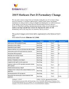 2015 Medicare Part D Formulary Change