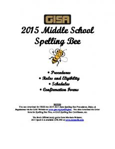2015 Middle School Spelling Bee
