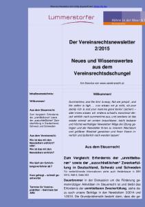 2015. Neues und Wissenswertes aus dem Vereinsrechtsdschungel. Aus dem Steuerrecht