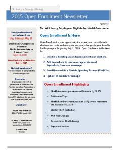2015 Open Enrollment Newsletter