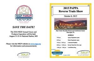 2015 PAPPA Reverse Trade Show SAVE THE DATE! October 8, 2015