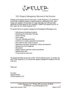 2015 Property Management Services & Fee Structure