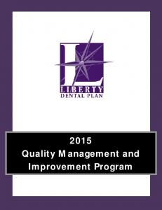 2015 Quality Management and Improvement Program
