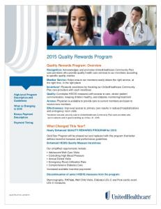 2015 Quality Rewards Program