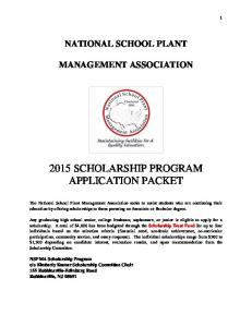 2015 SCHOLARSHIP PROGRAM APPLICATION PACKET