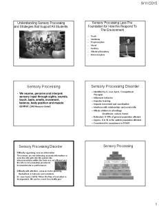 2015. Sensory Processing. Sensory Processing Disorder