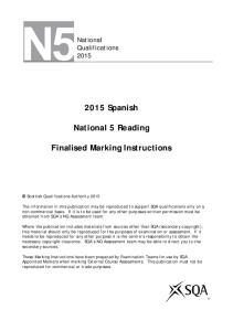 2015 Spanish. National 5 Reading. Finalised Marking Instructions