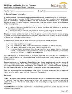 2015 Spay and Neuter Voucher Program Application for Spay or Neuter Vouchers
