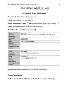 2015 Spring Grant Application