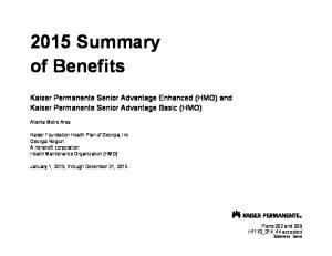 2015 Summary of Benefits