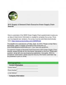 2015 Supply & Demand Chain Executive Green Supply Chain Awards