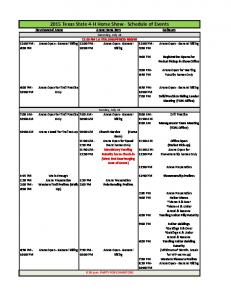 2015 Texas State 4-H Horse Show - Schedule of Events