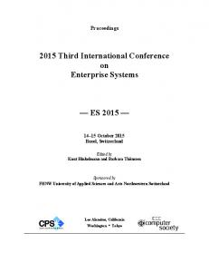 2015 Third International Conference on Enterprise Systems ES 2015