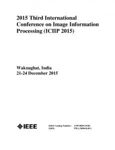 2015 Third International Conference on Image Information Processing (ICIIP 2015)